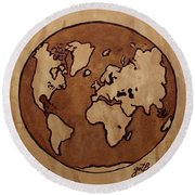 Abstract World Globe Map Coffee Painting Round Beach Towel