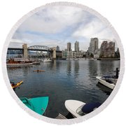 Across False Creek Round Beach Towel
