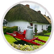 Round Beach Towel featuring the photograph Adare Cottage by Charlie and Norma Brock