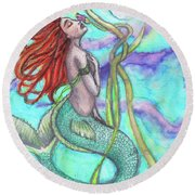 Adira The Mermaid Round Beach Towel