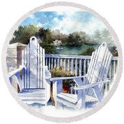 Round Beach Towel featuring the painting Adirondack Chairs Too by Andrew King