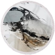Aerial View Of Snow-covered Ruapehu Round Beach Towel