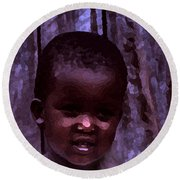 Round Beach Towel featuring the pyrography African Little Girl by Lydia Holly