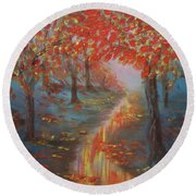 After The Rain In Autumn Round Beach Towel