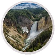 Afternoon At Lower Yellowstone Falls Round Beach Towel