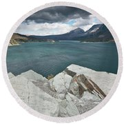 Afternoon At St. Mary Lake Round Beach Towel
