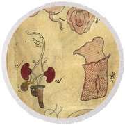 Akbars Medicine, Anatomy, 18th Century Round Beach Towel