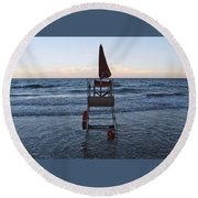 Alassio Sunset Facing East Round Beach Towel