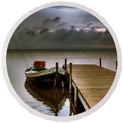 Albufera Before The Rain. Valencia. Spain Round Beach Towel
