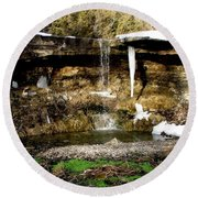 Alcove Spring And Waterfall Round Beach Towel