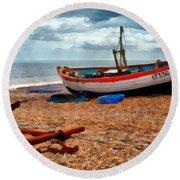 Aldeburgh Fishing Boat Round Beach Towel