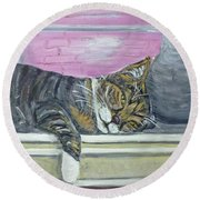 Round Beach Towel featuring the painting Alex On Windowsill  by Ania M Milo