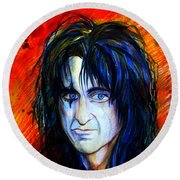 Alice Cooper  Two Faces Round Beach Towel