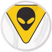 Alien Grey Hazard Graphic Round Beach Towel by Pixel Chimp
