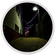 Alley With Lights Round Beach Towel