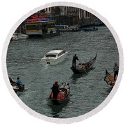 Along The Canal Round Beach Towel by Vivian Christopher