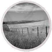 Round Beach Towel featuring the photograph Along The Line by Kathleen Grace