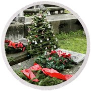 Round Beach Towel featuring the photograph Always Home For Christmas by Lorraine Devon Wilke