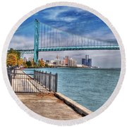 Ambassador Bridge Detroit Mi Round Beach Towel by Nicholas  Grunas