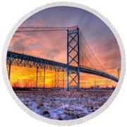 Ambassador Bridge Sunrise 1-16-2012  Detroit Mi Round Beach Towel by Nicholas  Grunas