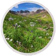 American Basin Wildflowers Round Beach Towel