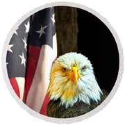 Round Beach Towel featuring the photograph American Eagle And American Flag by Randall Branham