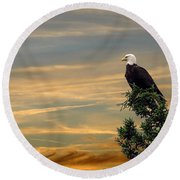 Round Beach Towel featuring the photograph American Eagle Sunset by Dan Friend
