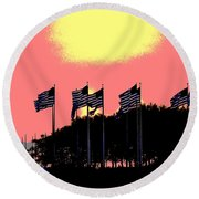 American Flags1 Round Beach Towel by Zawhaus Photography