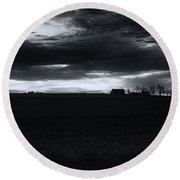 Amish Sunrise Black And White Round Beach Towel