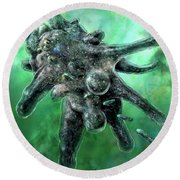 Round Beach Towel featuring the digital art Amoeba Green by Russell Kightley