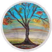 An Autumn Locust Tree Round Beach Towel