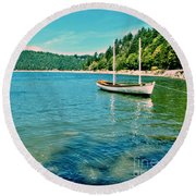 Anchored In Bay Round Beach Towel