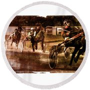 Round Beach Towel featuring the photograph and the winner is - A vintage processed Menorca trotting race by Pedro Cardona