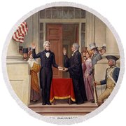 Round Beach Towel featuring the photograph Andrew Jackson At The First Capitol Inauguration - C 1829 by International  Images