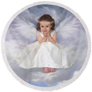Angel 2 Round Beach Towel