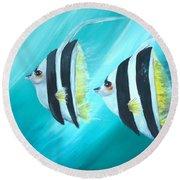 Angel Fish Round Beach Towel by Bernadette Krupa
