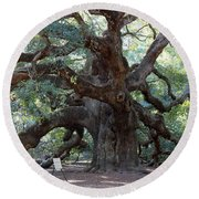 Angel Oak - Dont Climb Or Carve On The Tree Round Beach Towel