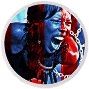 Round Beach Towel featuring the photograph Anger In Red And Blue by Alice Gipson