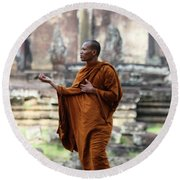 Round Beach Towel featuring the photograph Angkor Wat Monk by Nola Lee Kelsey