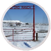 Another Snow On Crawford Ranch Round Beach Towel