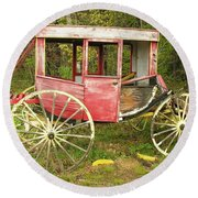 Round Beach Towel featuring the photograph Old Horse Drawn Carriage by Sherman Perry