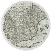 Antique Map Of Spain And Portugal Round Beach Towel