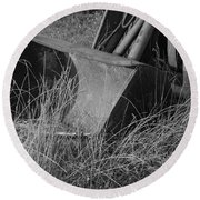 Round Beach Towel featuring the photograph Antique Tractor Bucket In Black And White by Jennifer Ancker