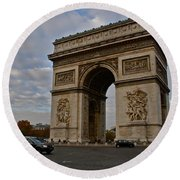 Round Beach Towel featuring the photograph Arc De Triomphe by Eric Tressler