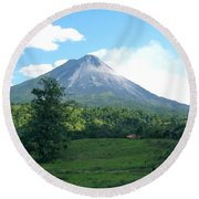 Round Beach Towel featuring the photograph Arenal by Eric Tressler
