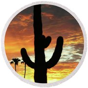Arizona Sunrise 01 Round Beach Towel by Rand Swift