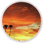 Arizona Sunrise 02 Round Beach Towel by Rand Swift