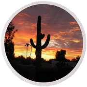 Arizona Sunrise 03 Round Beach Towel by Rand Swift