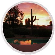 Arizona Sunrise 04 Round Beach Towel by Rand Swift