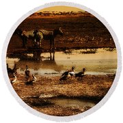 Round Beach Towel featuring the photograph Around The Pond by Lydia Holly